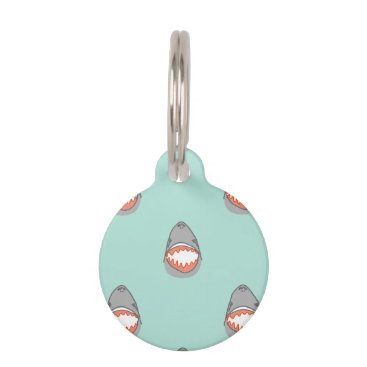 Beach Themed Great White Shark Heads in Grey w Aqua Ocean Water Pet Tag