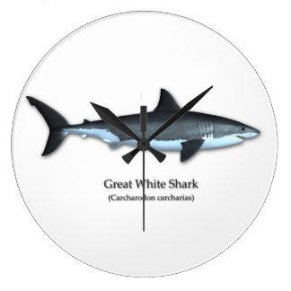 Great White Shark Large Clock