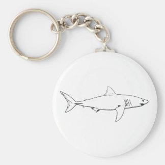 Great White Shark (line art) Basic Round Button Keychain