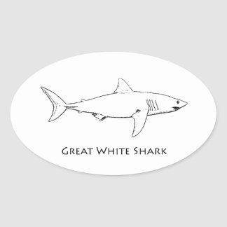 Great White Shark (line art) Oval Sticker