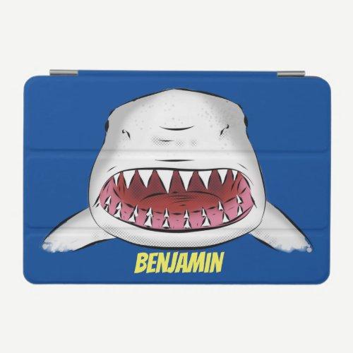 Great white shark mean cartoon illustration iPad mini cover