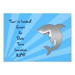 Great white shark on blue sunburst invitation