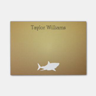 Great White Shark on Dark Faux Gold with Name Post-it Notes