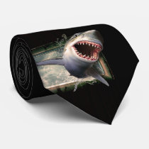 Great White Shark on the Move Necktie