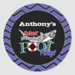 Great White Shark Pool Birthday Party Stickers