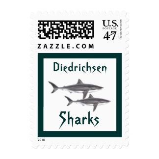 Great White Shark Sharks School Mascot postage sta