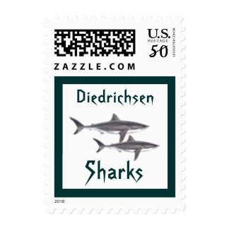 Great White Shark Sharks School Mascot postage sta
