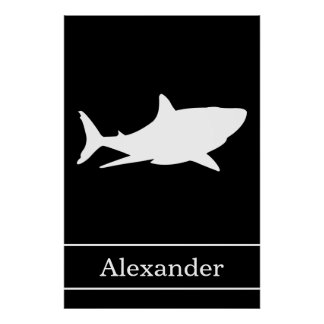 Great White Shark Silhouette with Name Poster