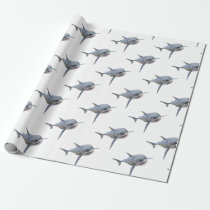 great white shark swimming to the front wrapping paper