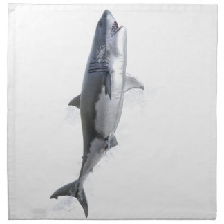 great white shark swimming to the surface cloth napkin