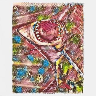 Great White Shark Watercolor Art Fleece Blanket