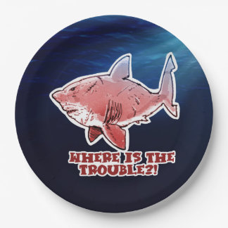 great white shark where is the trouble red tint paper plate