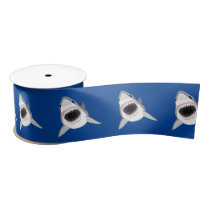 Great White Shark With Open Jaws Funny Satin Ribbon