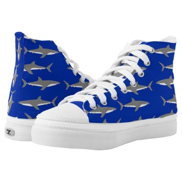 Beach Themed Great White Sharks High-Top Sneakers