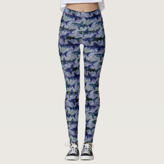 Great White Sharks in the Deep Blue Sea Leggings