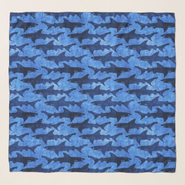 Beach Themed Great White Sharks in the Deep Blue Sea Scarf