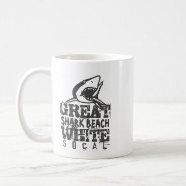Beach Themed Great White SoCal Coffee Mug