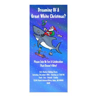 "Great White Xmas Party Invitations 4"" X 9.25"" Invitation Card"