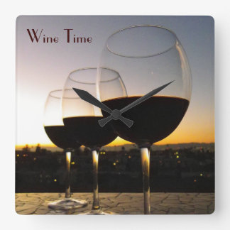 Great Wine Time Wall Clock! Square Wall Clock