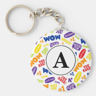 Great Work Back to School Bright Monogram Keychain