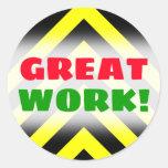 "[ Thumbnail: ""Great Work!""; Black & Yellow Chevron-Like Pattern Round Sticker ]"