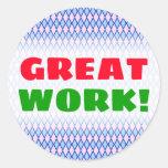 "[ Thumbnail: ""Great Work!""; Blue and Pink Diamond Shape Pattern Round Sticker ]"