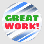 [ Thumbnail: Great Work!; Blue/White/Gray Lines/Stripes Pattern Round Sticker ]
