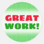 "[ Thumbnail: ""Great Work!"" + Green Dots/Circles Pattern Sticker ]"
