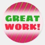 "[ Thumbnail: ""Great Work!"" + Green Lines On Crimson Pattern Round Sticker ]"