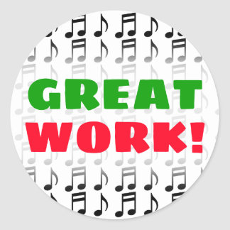 """""""GREAT WORK!"""" + Grid of Musical Notes Sticker"""