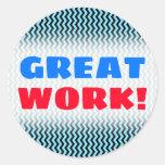"[ Thumbnail: ""Great Work!"" + Light Blue & Black Wave Pattern Round Sticker ]"