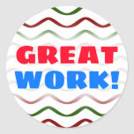 """[ Thumbnail: """"Great Work!"""" + Red & Green Wavy Lines Pattern Round Sticker ]"""