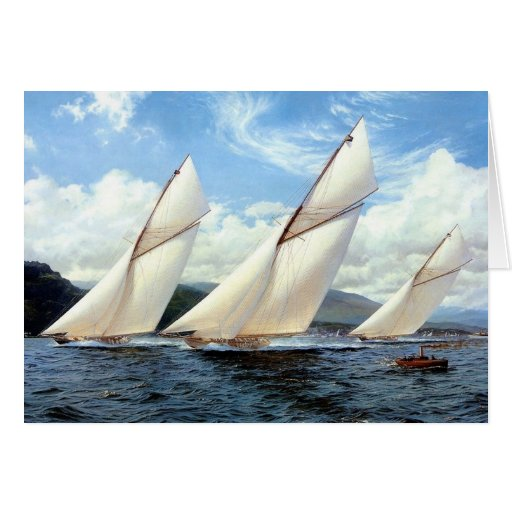 Great yacht race greeting cards
