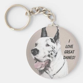 GreatDaneED, I LOVE GREAT DANES! Keychain