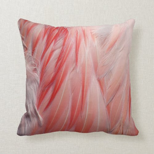 Greater Flamingo Coral Pink Wing Feathers Texture Throw Pillow