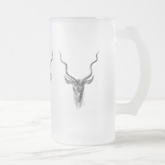 Greater Kudu Frosted Glass Beer Mug
