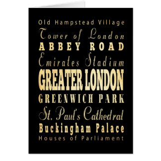 Greater London City of England Typography Card