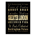 Greater London City of England Typography Postcard