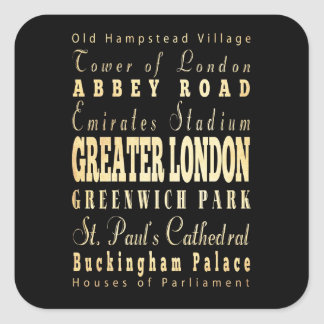 Greater London City of England Typography Square Sticker