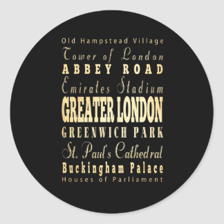 Greater London City of England Typography Classic Round Sticker