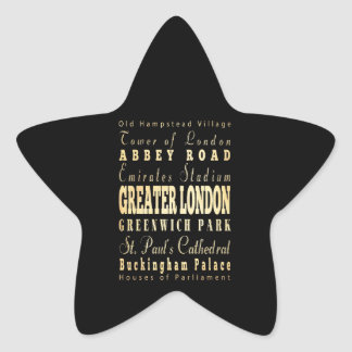 Greater London City of England Typography Star Sticker