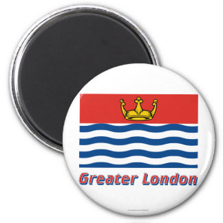 Greater London Flag with Name 2 Inch Round Magnet
