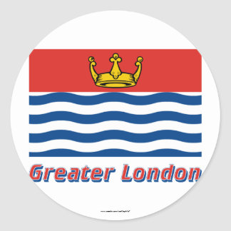 Greater London Flag with Name Classic Round Sticker