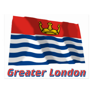 Greater London Waving Flag with Name Postcard