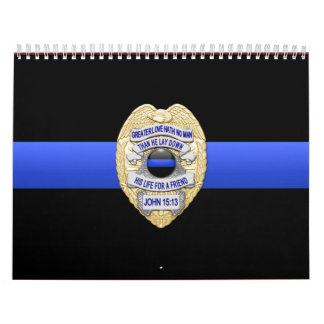Greater Love Badge Thin Blue Line Calendar