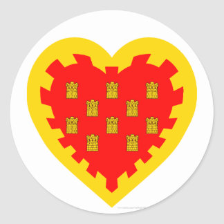 Greater Manchester Flag Heart  Classic Round Sticker