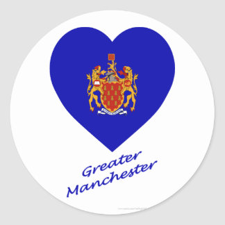 Greater Manchester Flag Heart with Name Classic Round Sticker