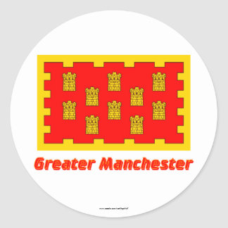 Greater Manchester Flag with Name Classic Round Sticker