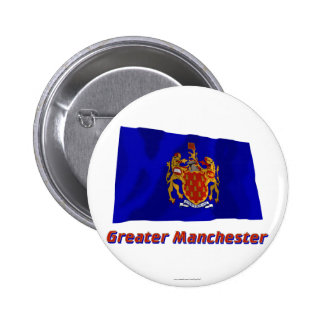 Greater Manchester Waving Flag with Name Button