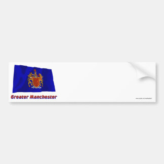 Greater Manchester Waving Flag with Name Car Bumper Sticker